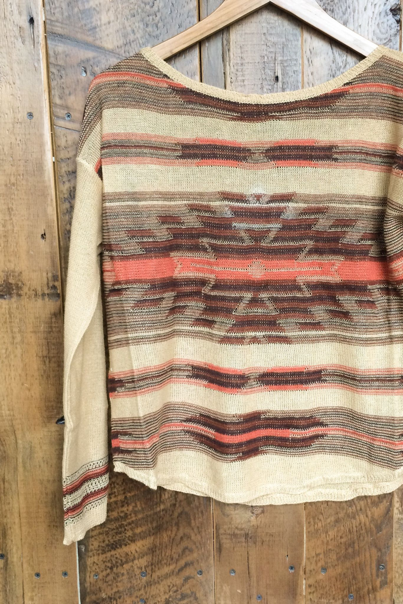 Southwest sweater Tan, dark brown and orange pattern front and back Super lightweight knit Great fall transition piece Layers well with The Buena tank 55% Linen