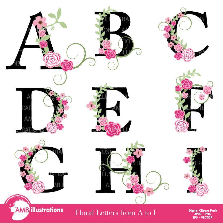Floral Alphabet Clipart Letters A To I Floral Clipart Etsy In 2020 Clip Art Floral Letters Alphabet Clipart