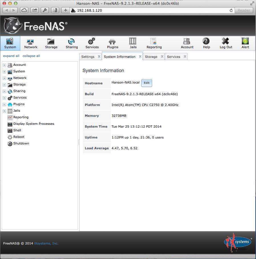 The Default FreeNAS Home Screen   Misc  house stuff