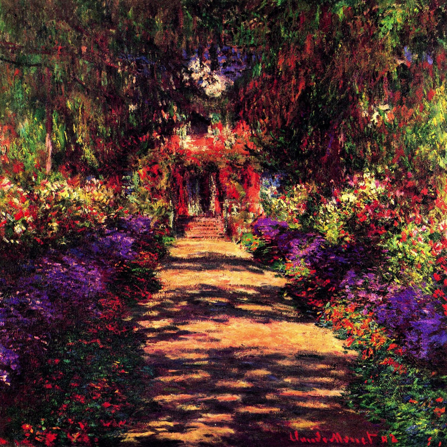 A Pathway in Monet s Garden Giverny 1902 Canvas Artwork by Claude Monet
