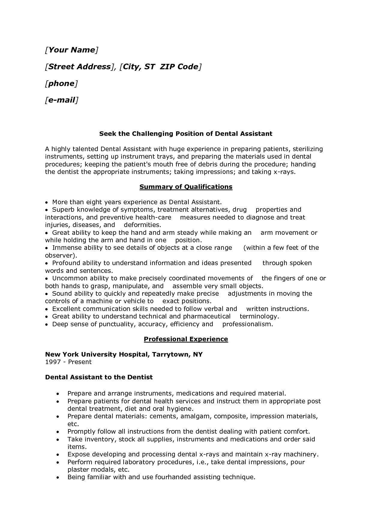24++ Registered dental assistant resume objective inspirations