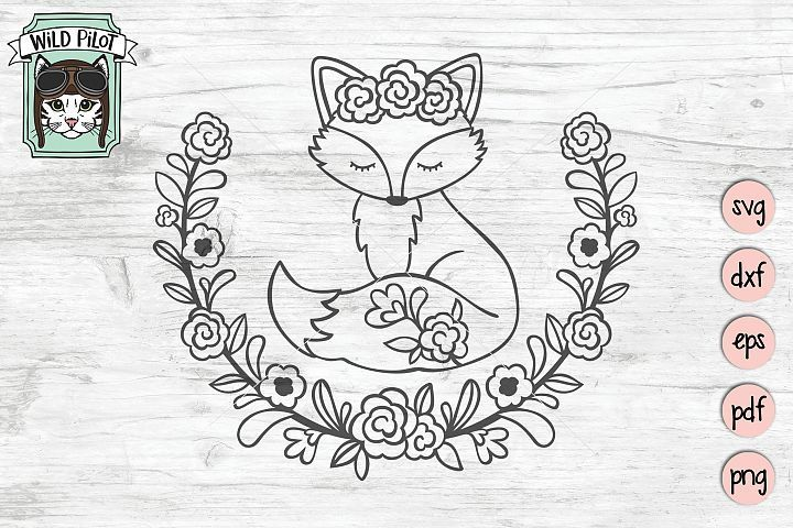 Fox SVG, Fox Cut File, Cute Fox, Wreath #cutefox