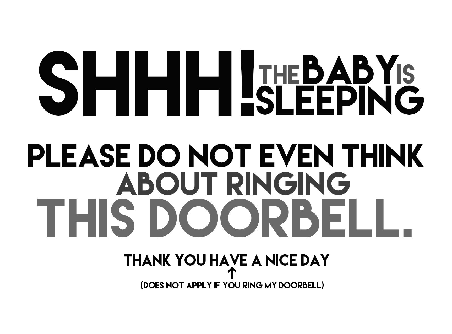 image relating to Printable Baby Sleeping Sign Front Door titled Little one Sleeping Indicator, Do Not Ring Doorbell Magnet, Dont Ring