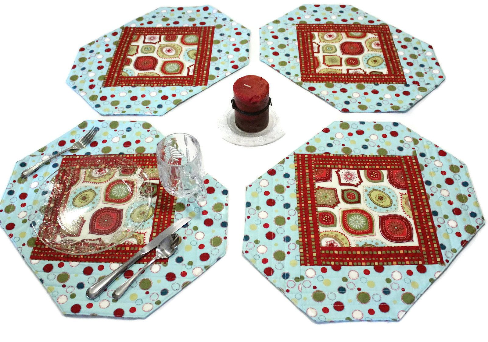 Christmas Placemats Napkins Aqua Blue And Red Quilted Place Etsy Jogo Americano
