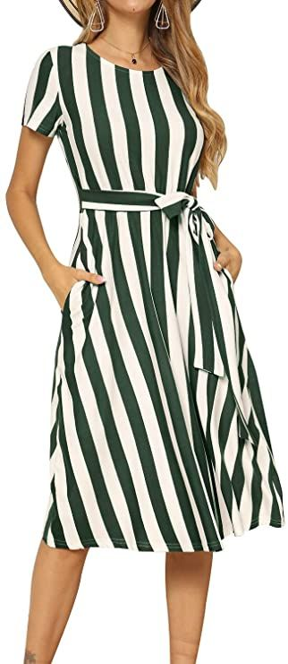 Photo of levaca Women's Short Sleeve Striped Casual Flowy Midi Belt Dress with Pockets