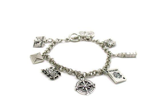Travel Charm Bracelet, Travel Bracelet, Traveling Charm Bracelet, Delicate Bracelet, Silver Jewelry, Gift Under 20, Keepsake Bracelet
