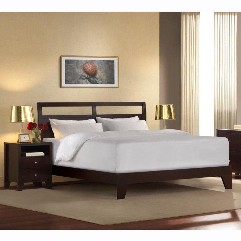 Bedroom Dark Wooden King Size Platform Bed Frame Without Spring
