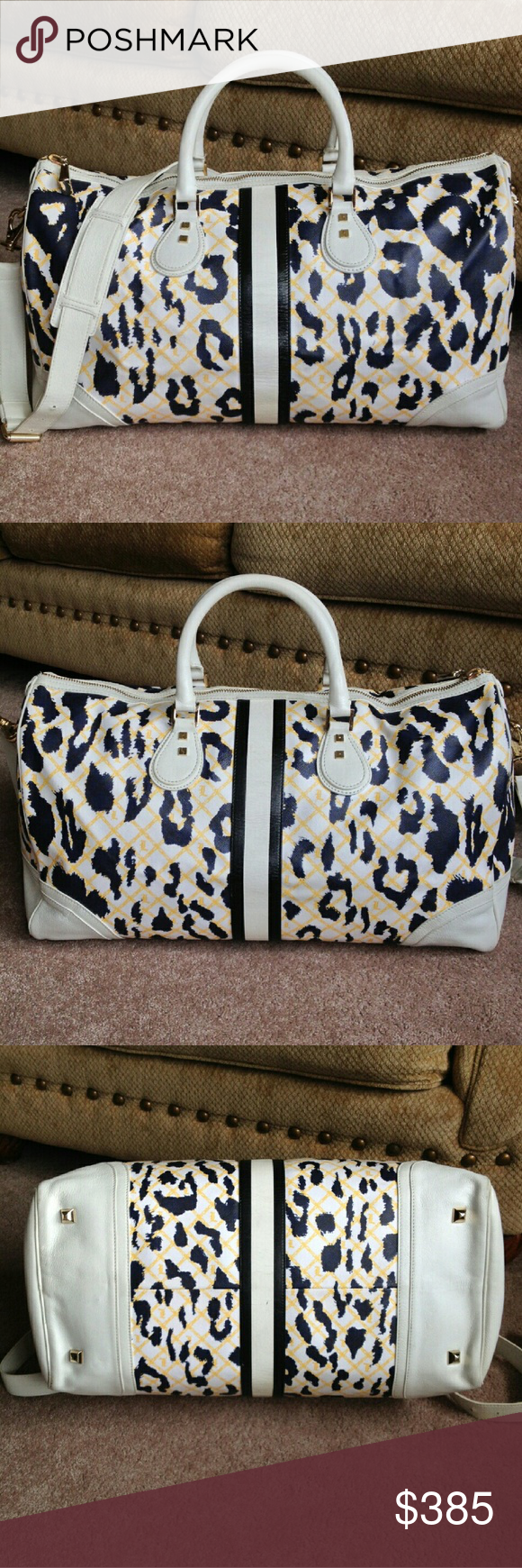 L.A.M.B. Rare Eton Duffle bag L.A.M.B. Rare Eton Duffle bag in white leopard! HTF and perfect for travel or overnight trips. LOVE, but use my other one more and this just sits!! A must have for any L.A.M.B. collector!! Great overall condition with slight wear to middle leather strip and corners, hardware and inside are immaculant! Additional listing for more pics of condition is posted! Any questions welcome and of course cheaper through double P  just ask! L.A.M.B. Bags Travel Bags
