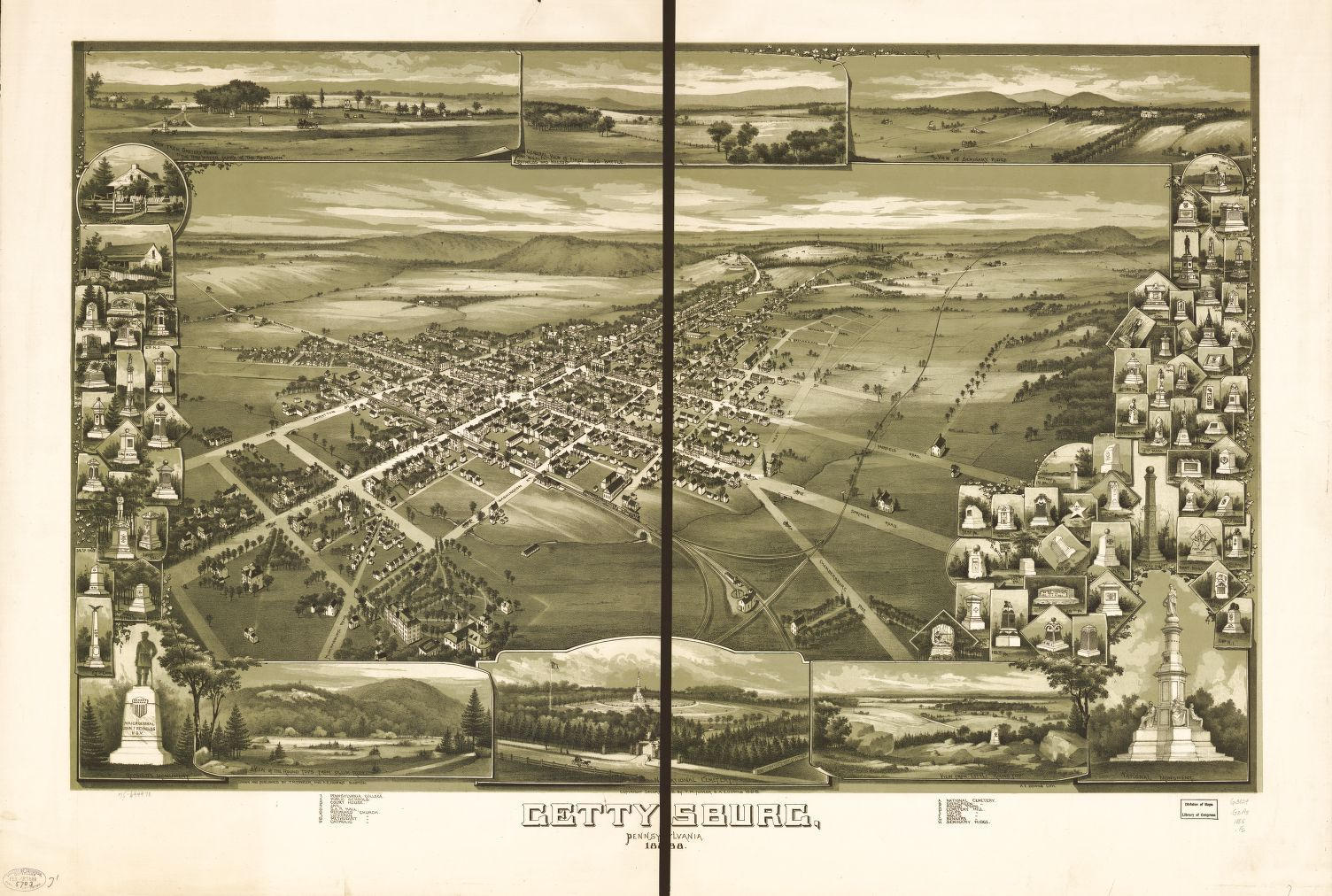 Gettysburg, Pennsylvania 1888. | Library of Congress. Man made features.