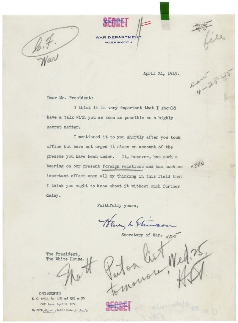 In this once secret letter to president harry s truman secretary in this once secret letter to president harry s truman secretary of war henry stimson requested an urgent meeting to discuss the manhattan project altavistaventures Choice Image