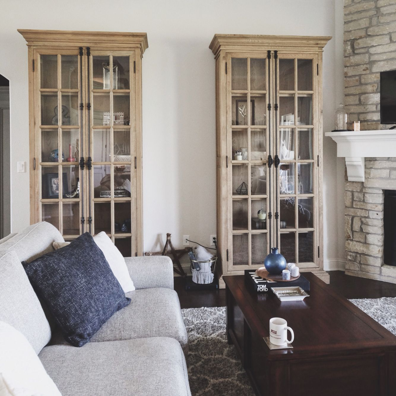 Living Room   Restoration Hardware French Style Cabinets.