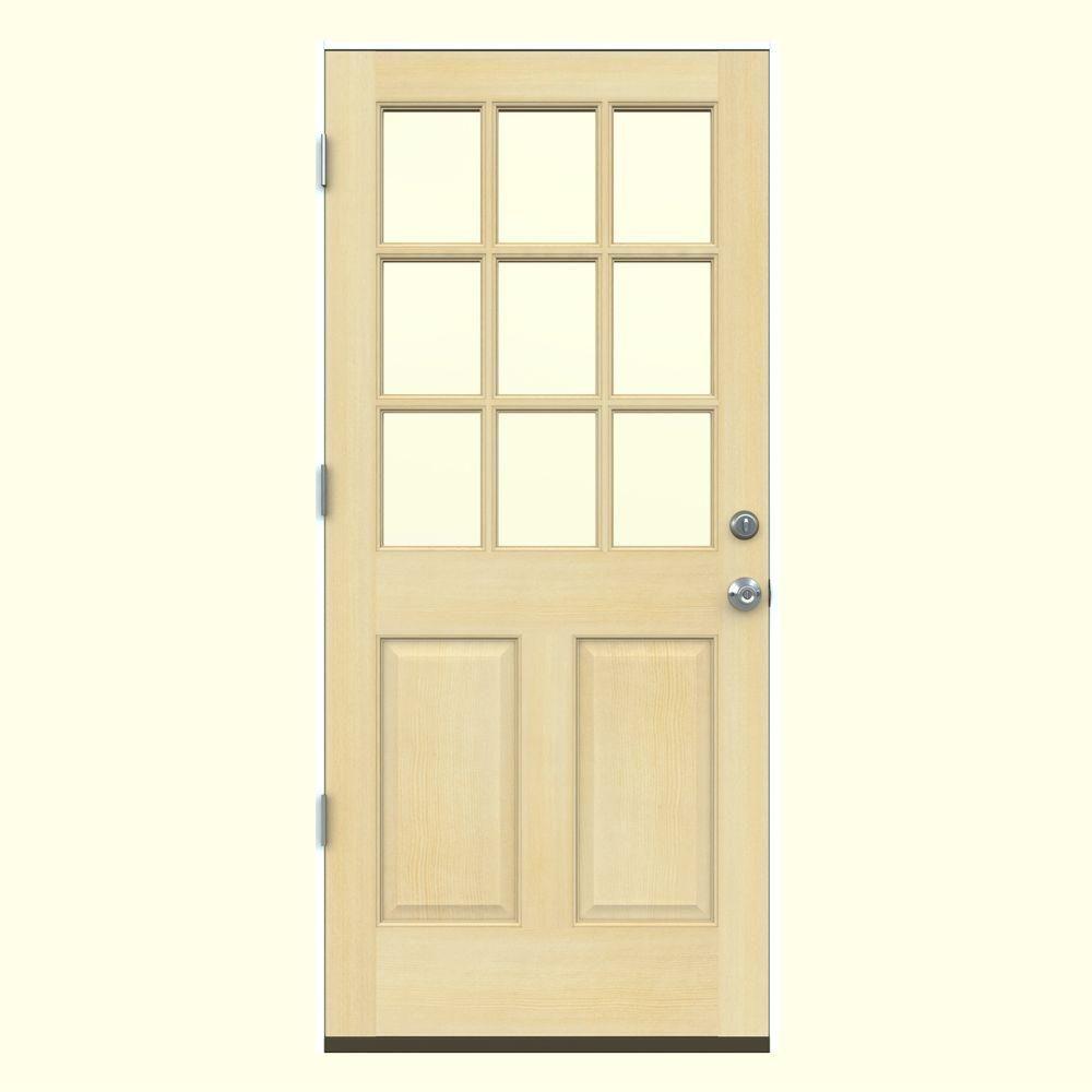 Jeld Wen 32 In X 80 In 9 Lite Unfinished Wood Prehung Right Hand Outswing Back Door W Primed Rot Resistant Jamb O10805 The Home Depot Front Door Entry Doors Solid Wood Doors