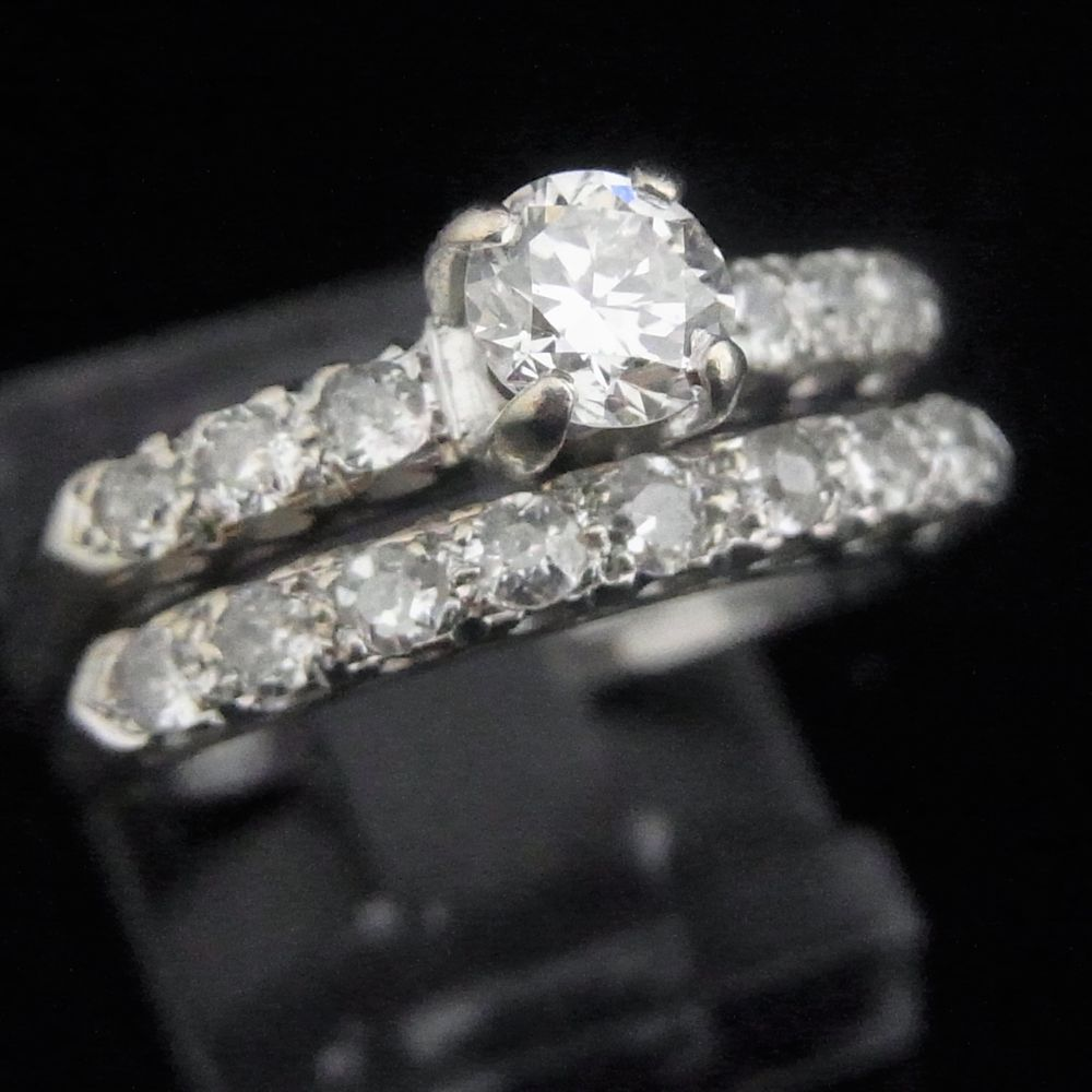Vintage Diamond 14k White Gold Bridal Set Engagement Ring