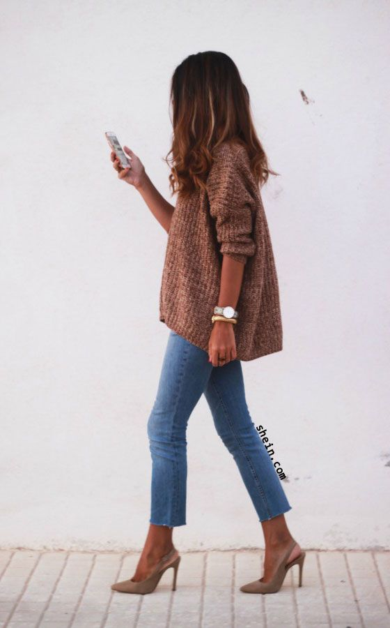672a0f686d Oversized sweater never fades. Brown V Neck Batwing Sleeve Loose Sweater by  shein.com.
