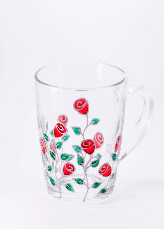 Rose Mug, Personalized Mug Gift for Mom, Gradma Mug Rose Cup, Floral Mug, Glass Mug, Unique Coffee M #uniquecoffee
