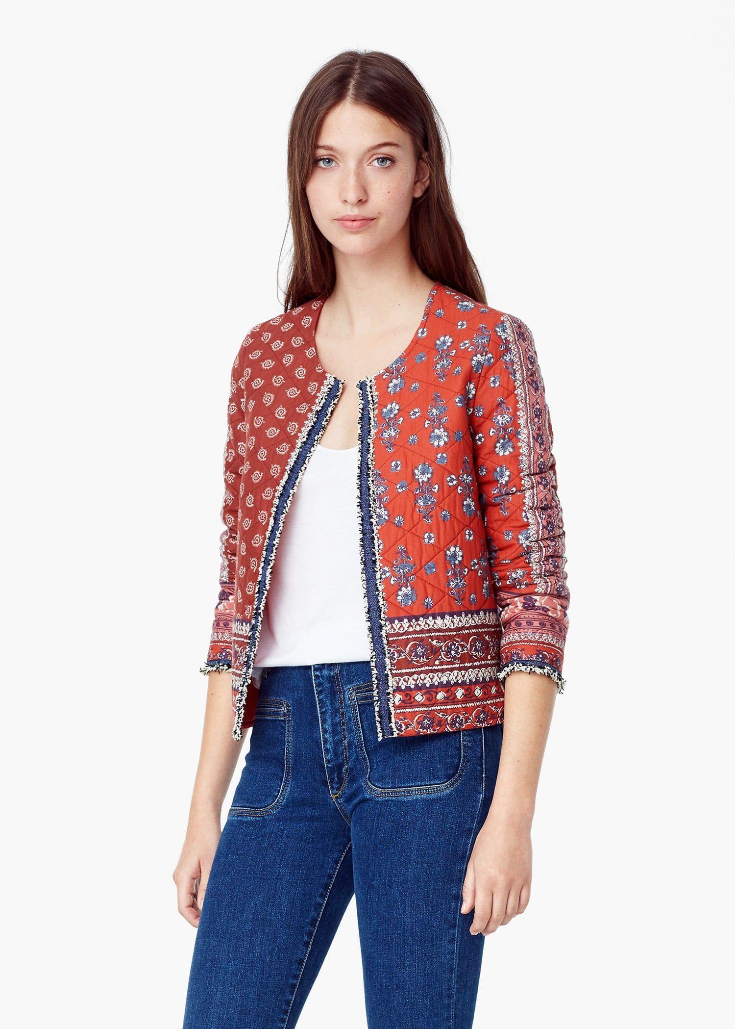 Printed Cotton Jacket Women Mango Usa Cotton Jackets Women Jackets For Women Cotton Jacket [ 2098 x 1500 Pixel ]