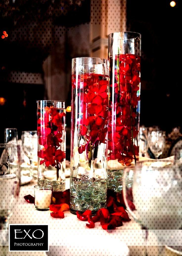Centerpieces, red centerpieces, wedding centerpieces, rose petals, flower centers ... - Flowe... Ce