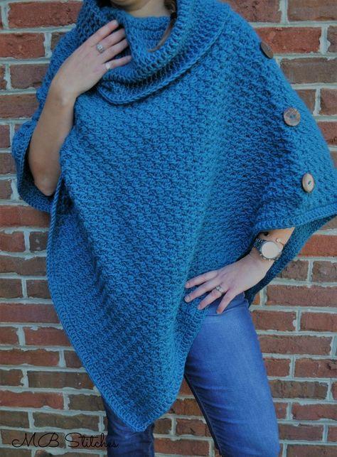 Teal Poncho | Ponchos, Proyectos de tejer y Sweter