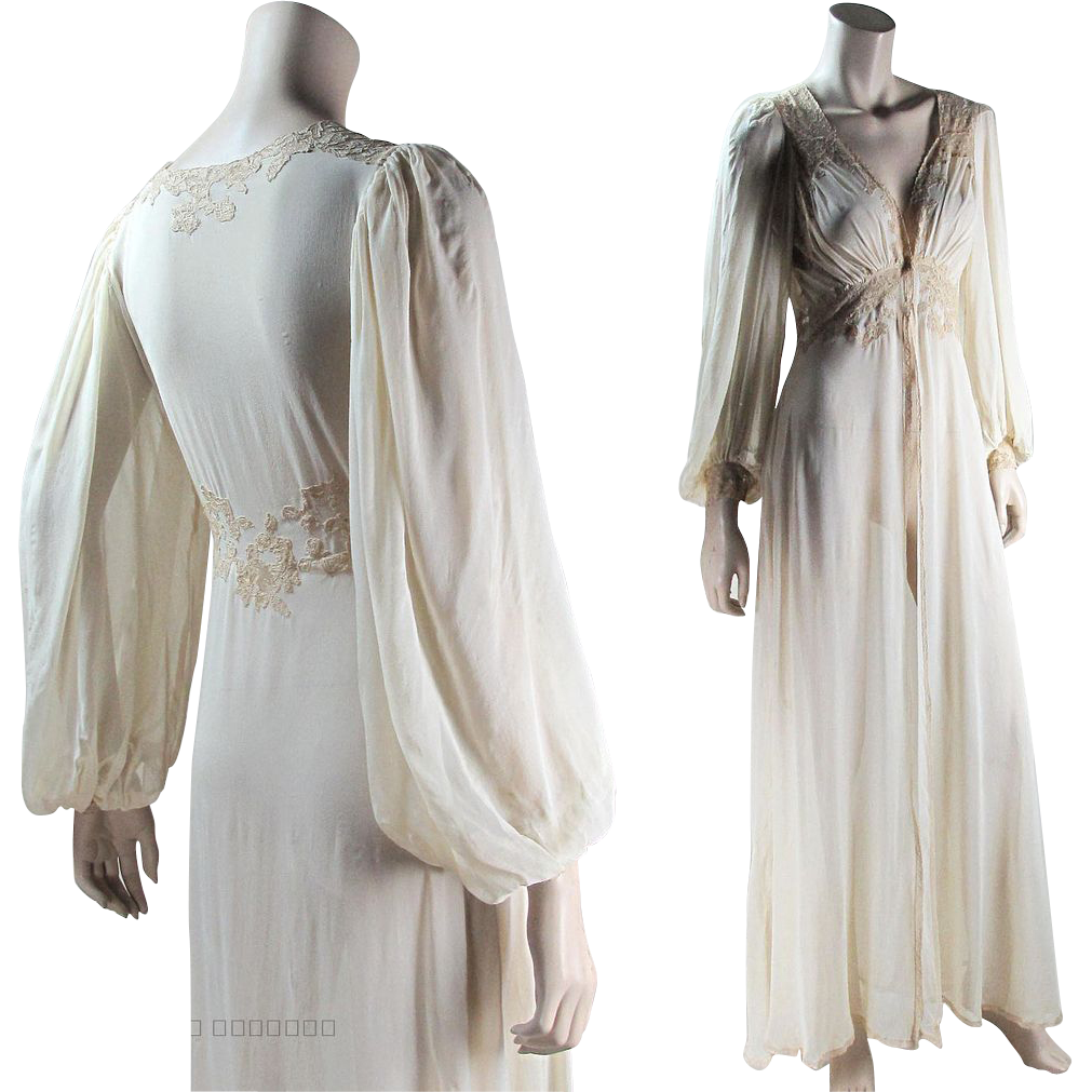 1448644a3 Romantic 1930 s Silk Chiffon And Lace Peignoir Nightgown Set Long  RubyLane   vintage  lingerie