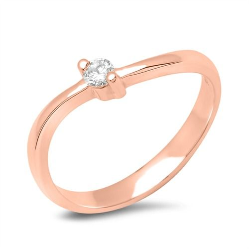 18k Rotgold Verlobungsring Mit Diamant 0 05 Ct Vr0119 Gold Rings
