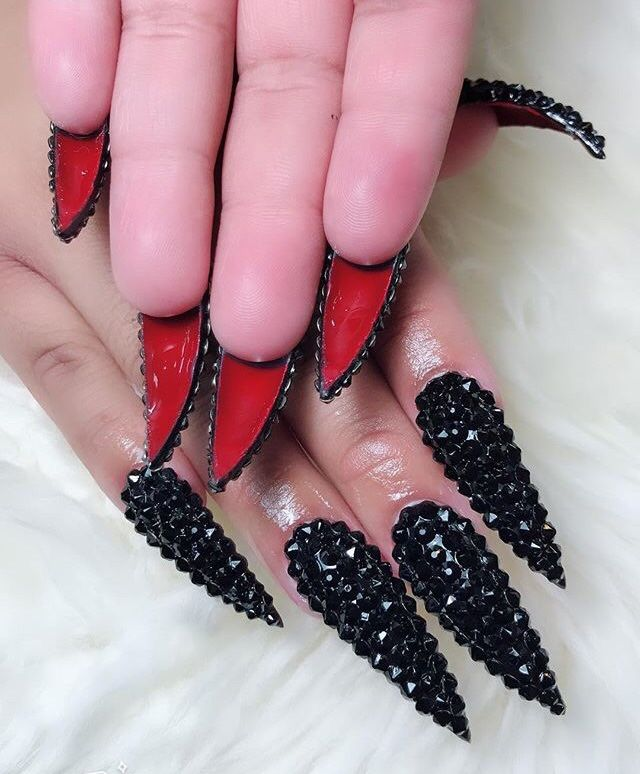 Red Bottom Stiletto Nails By Margaritasnailz Red Bottom Nails Studded Nails Summer Stiletto Nails