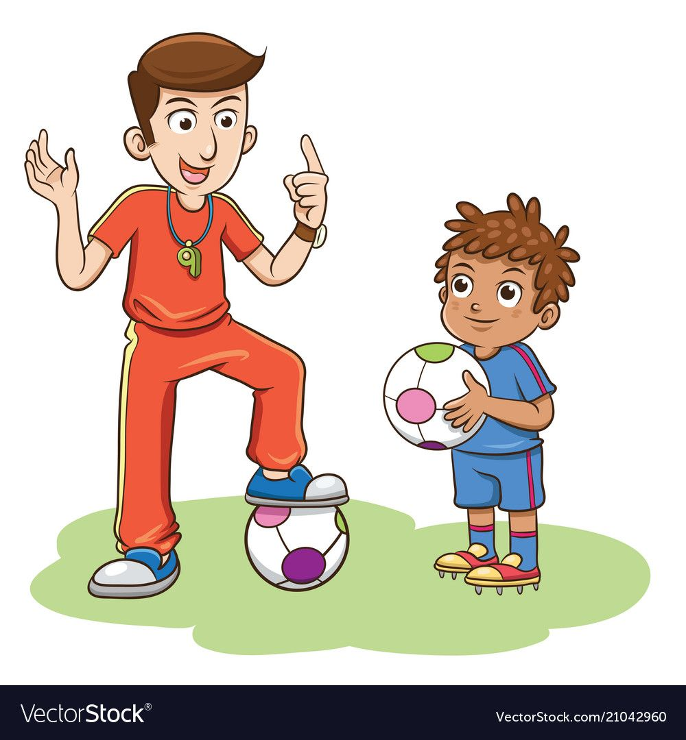 Soccer Coach And The Kids Players Vector Image On Vectorstock Soccer Coaching Soccer Soccer Boys