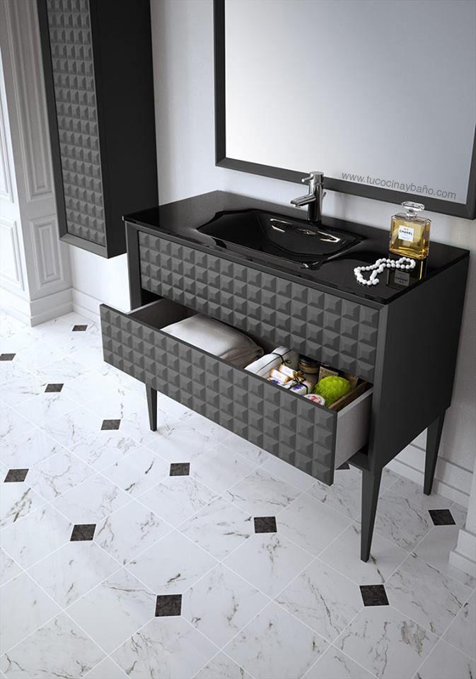 Mueble De Ba O Gris Antracita Satinado Con Textura De