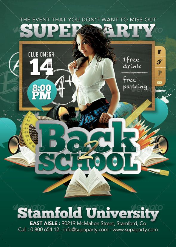 Back To school Super University Party Flyer template, Party - party flyer