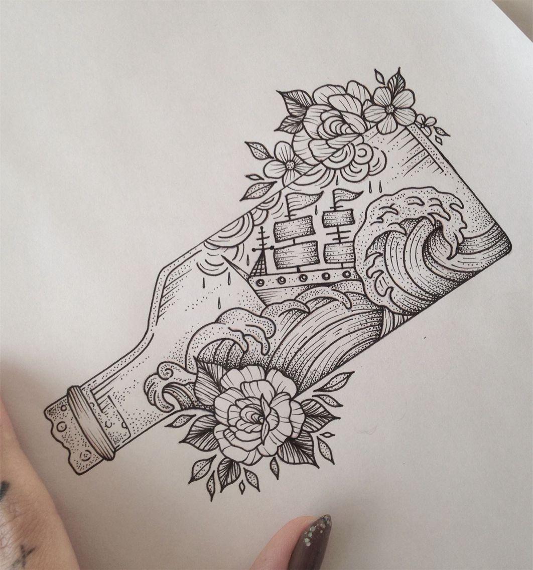Lou Hopper Is Stunning Beautiful Stunning Tattoos: Ship In A Bottle Tattoo By Medusa Lou Tattoo Artist
