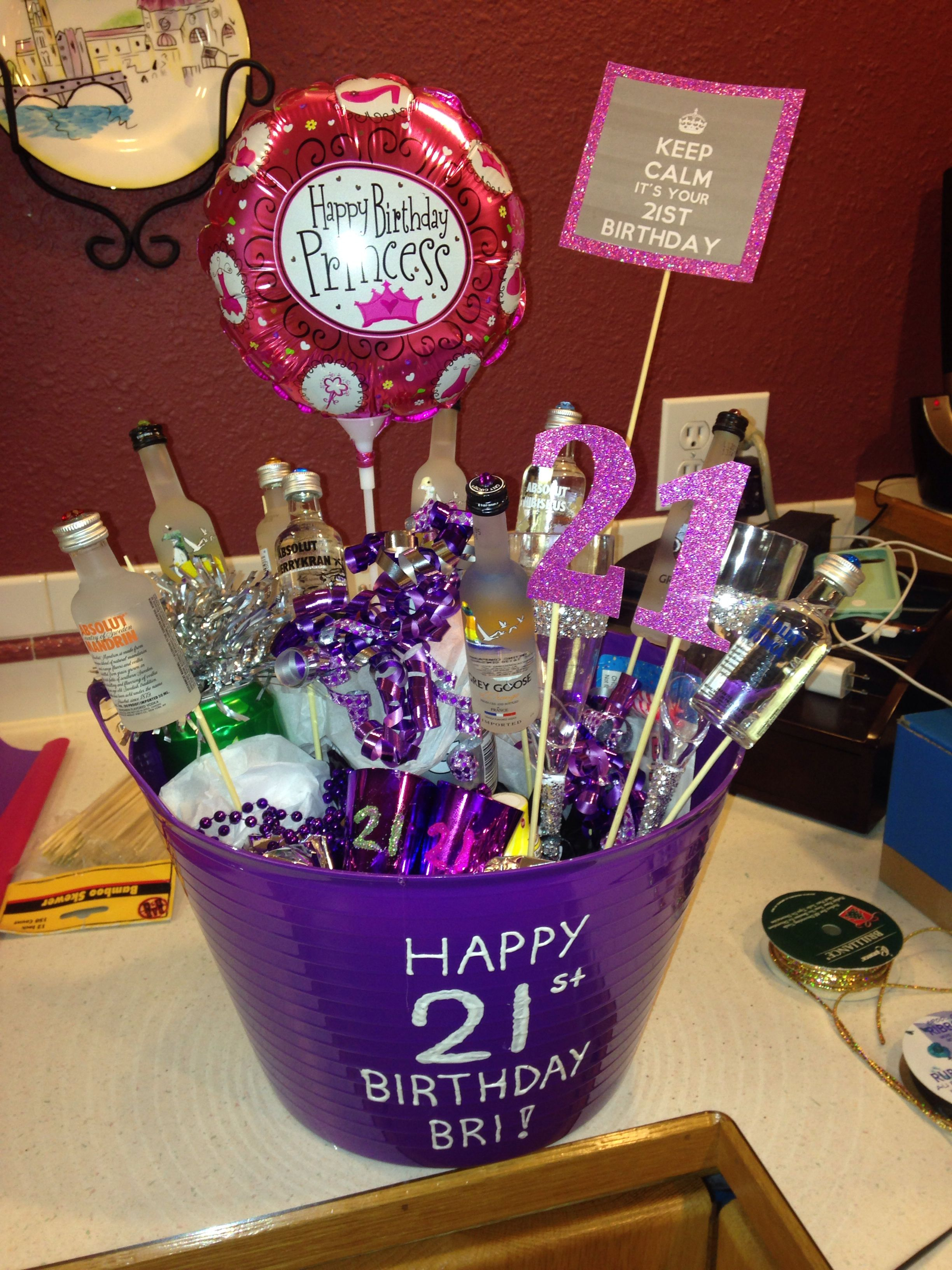 DIY 21st birthday bucket 21st birthday basket, 21st