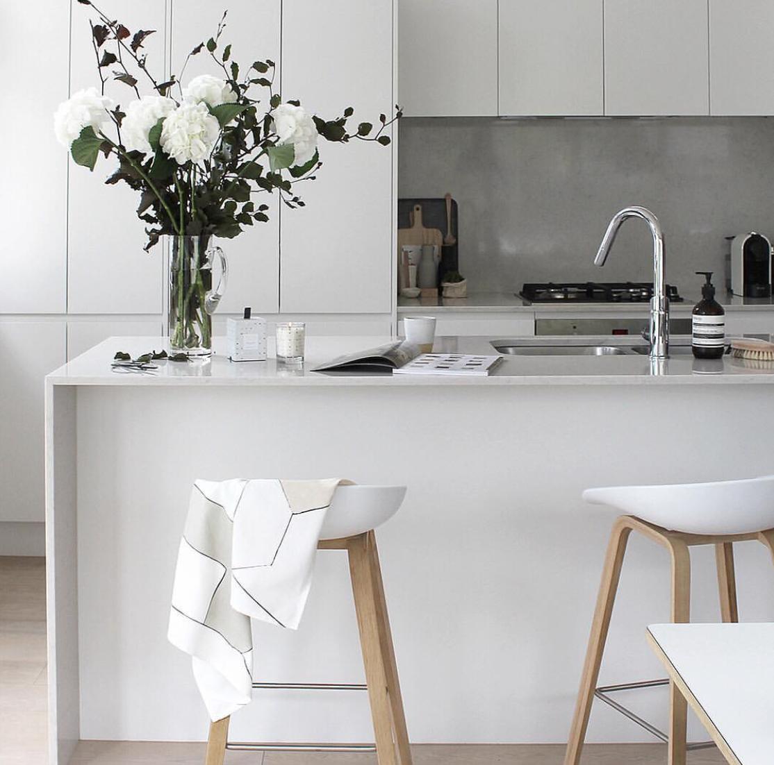 Grey Scale Kitchen Modern White Stone Bench Top Concrete