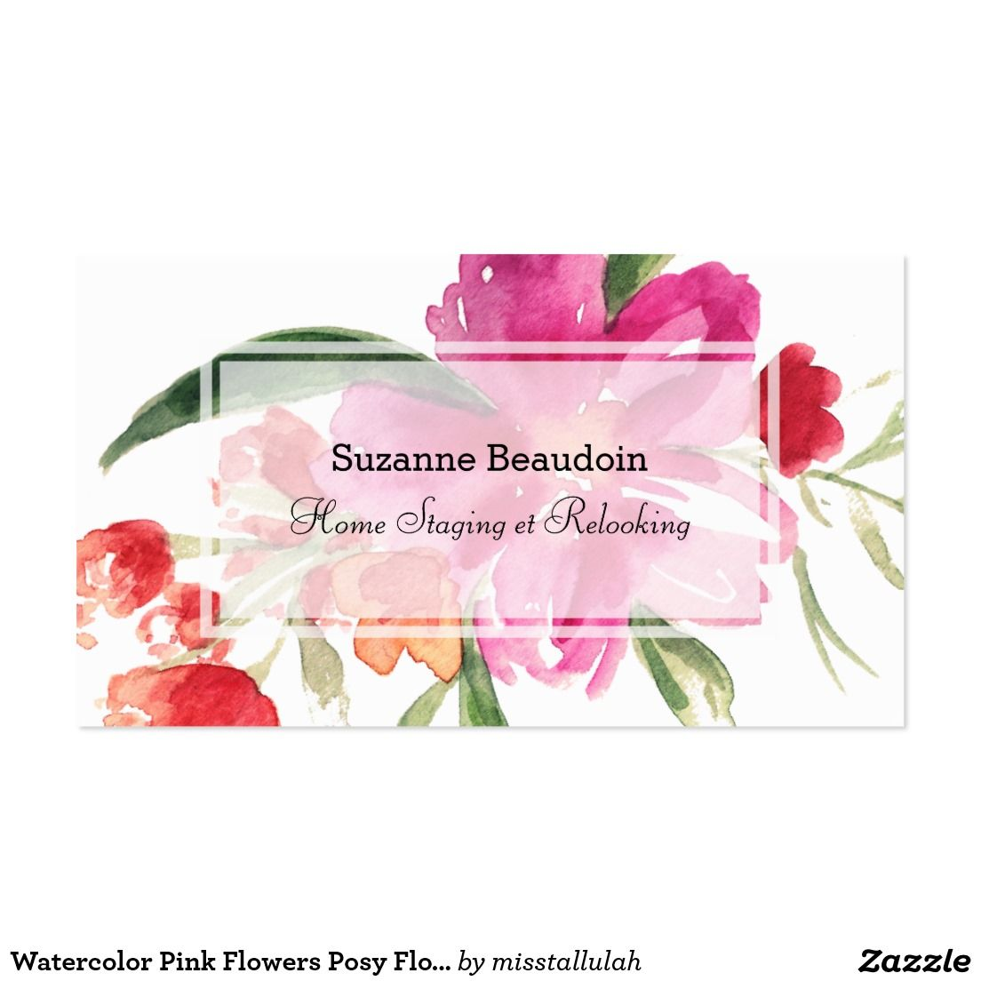 Profile card cartes daffaires pinterest business cards watercolor pink flowers posy floral business card accmission Choice Image