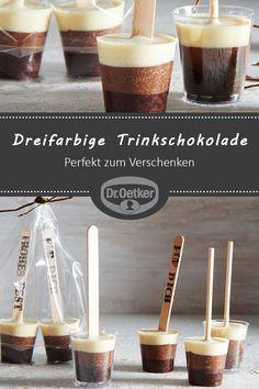 Dreifarbige Trinkschokolade am Stiel