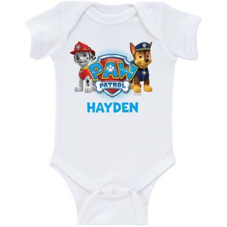 Personalized PAW Patrol Marshall and Chase White Baby Boys' Bodysuit, Boy's, Size: 18M