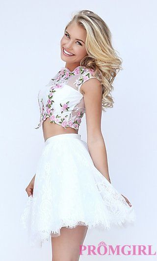 Sherri Hill Short Two Piece Ivory and Pink Dress at PromGirl.com