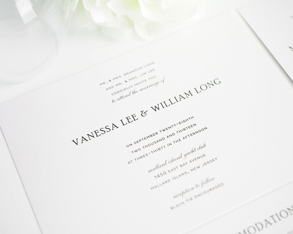 Traditional Wedding Invitations in Black and White | Classic ...