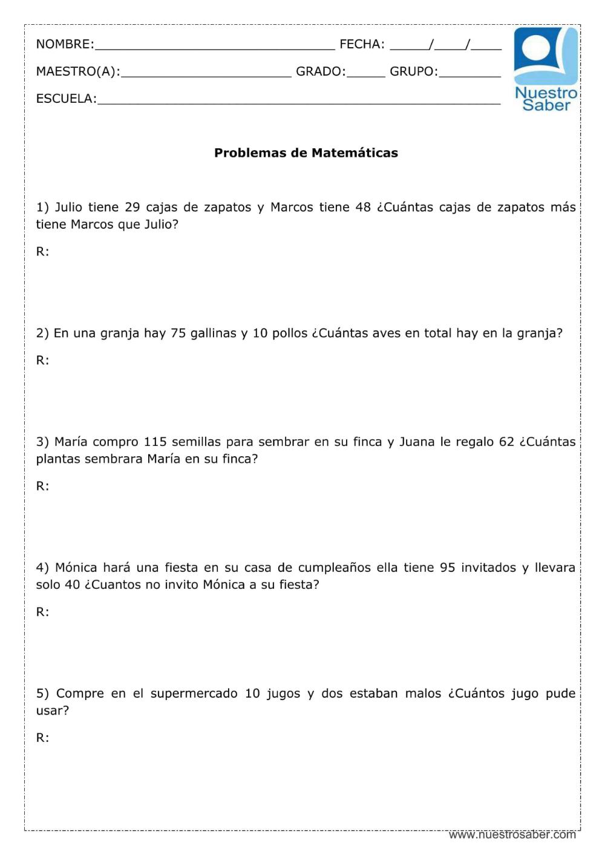 Problemas De Matemáticas Suma Y Resta Tercer Grado Primaria Matematicas Tercero De Primaria Matematicas Tercer Grado Actividades De Resta