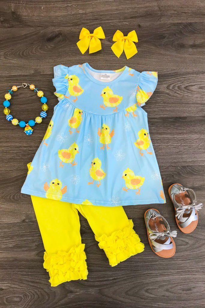 9f9b530d8 Sweet Sunshine Chick Ruffle Capri Set | Little girl clothes | Ropa para  niñas, Pijamas para niñas, Moda para niñas