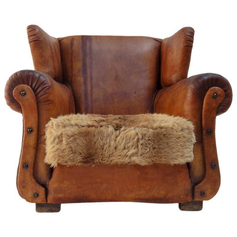 Beautiful Distressed Vintage Leather French Deco Wingback Chair with  Character - Beautiful Distressed Vintage Leather French Deco Wingback Chair