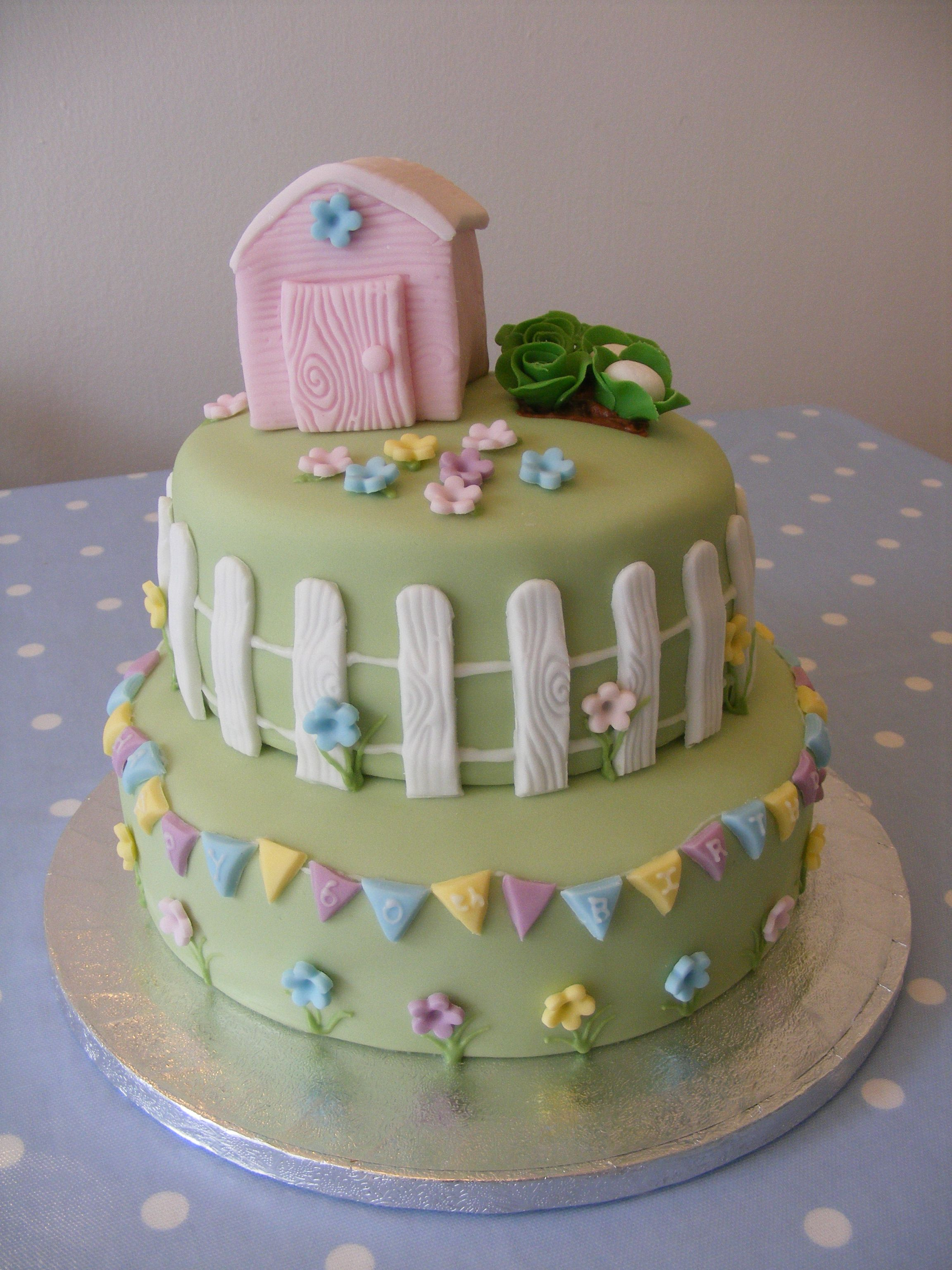 Tiered garden theme cake www.curiositeashop.co.uk/cakes | Cakes ...