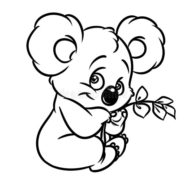 Photo About Koala Eucalyptus Leaves Coloring Page Image Animal Character Illustration Of Koala Bear Li Bear Coloring Pages Koala Drawing Bird Coloring Pages