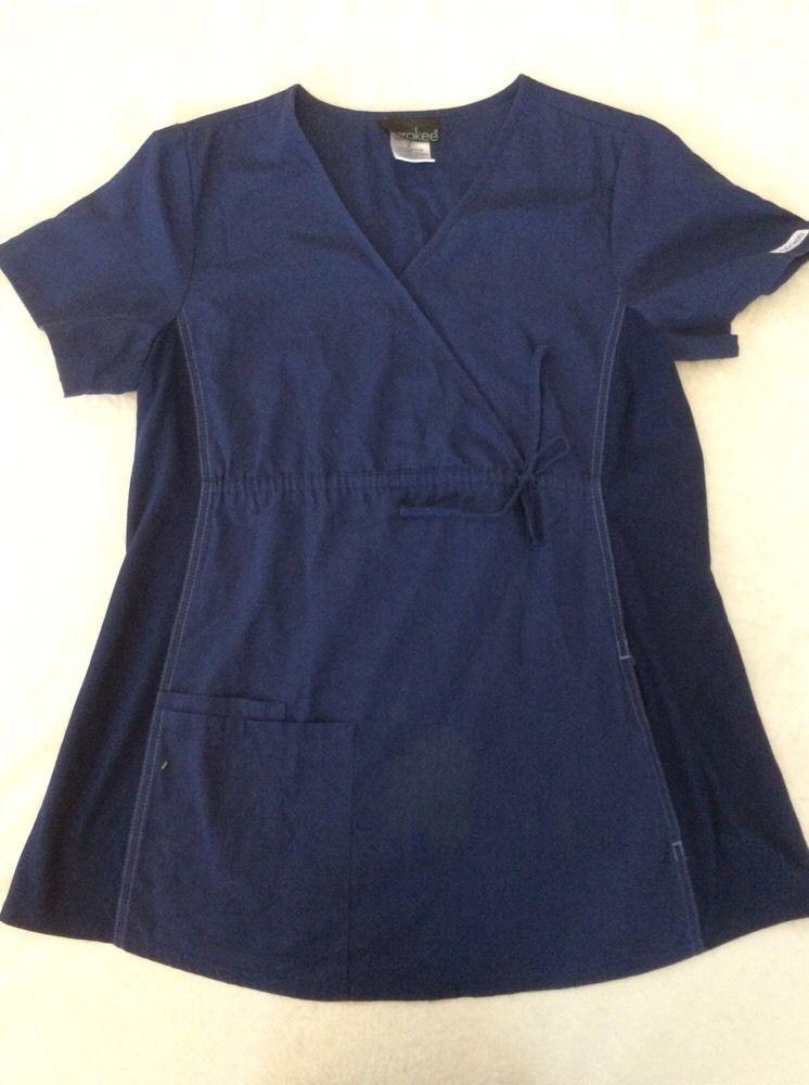 9082771c017 Cherokee Maternity Scrub Top Flexibles Small Navy blue Womens Nursing Flaw # Cherokee
