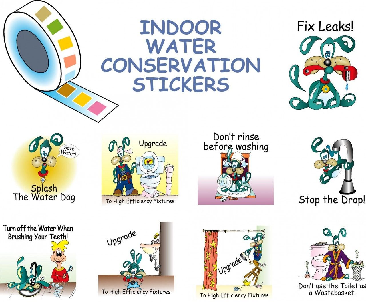 Roll of Splash the Water Dog Indoor Water Conservation Stickers for ...