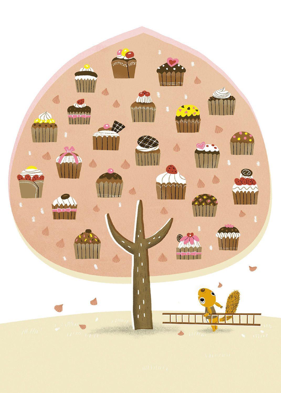 Cupcake tree- Postcard set of 5. via Etsy.