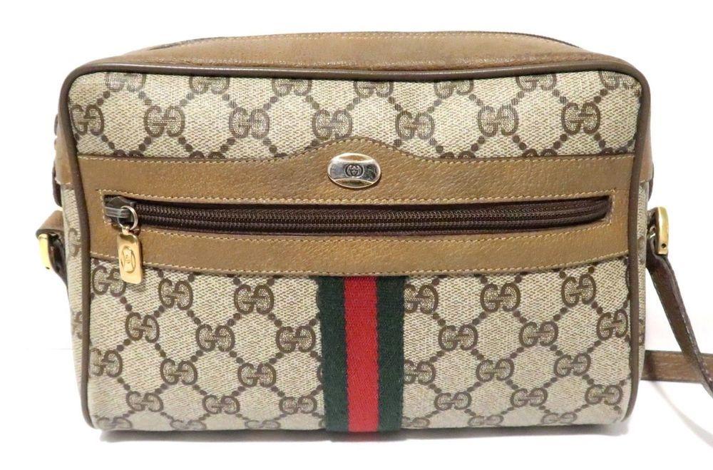 0aff0351152 Authentic Vintage GUCCI Messenger Shoulder Bag Purse Handbag GG Logo 9