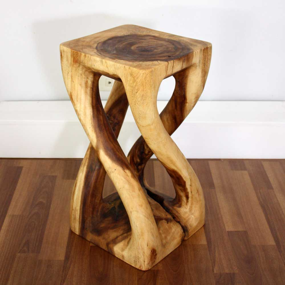 Hand carved monkey pod wood Vine Twist Stool or Stand