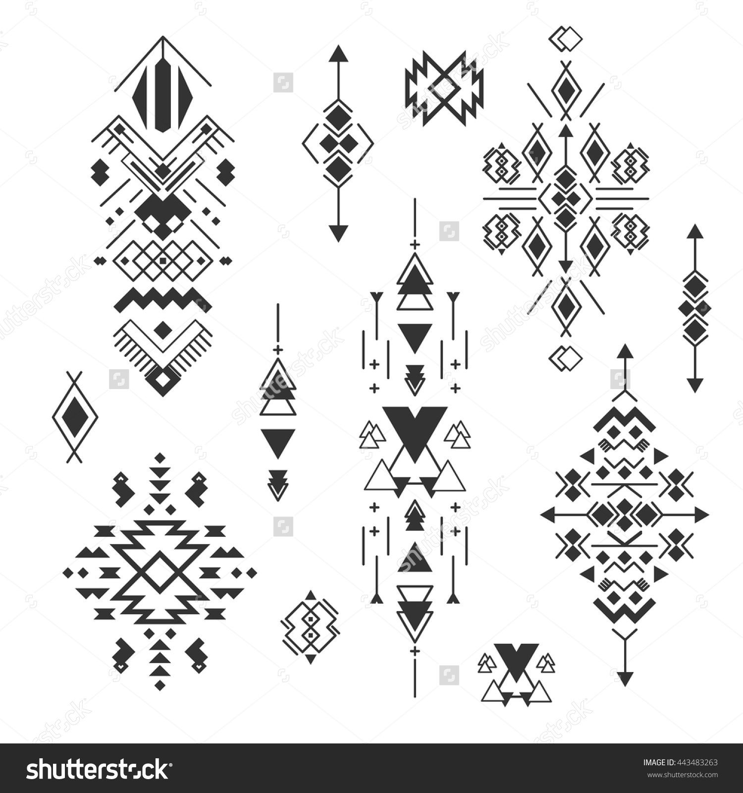 360836593ff44 Vector Tribal elements, ethnic collection, aztec stile, tribal design  isolated on white background. Abstract ornament geometric aztec native  pattern art.