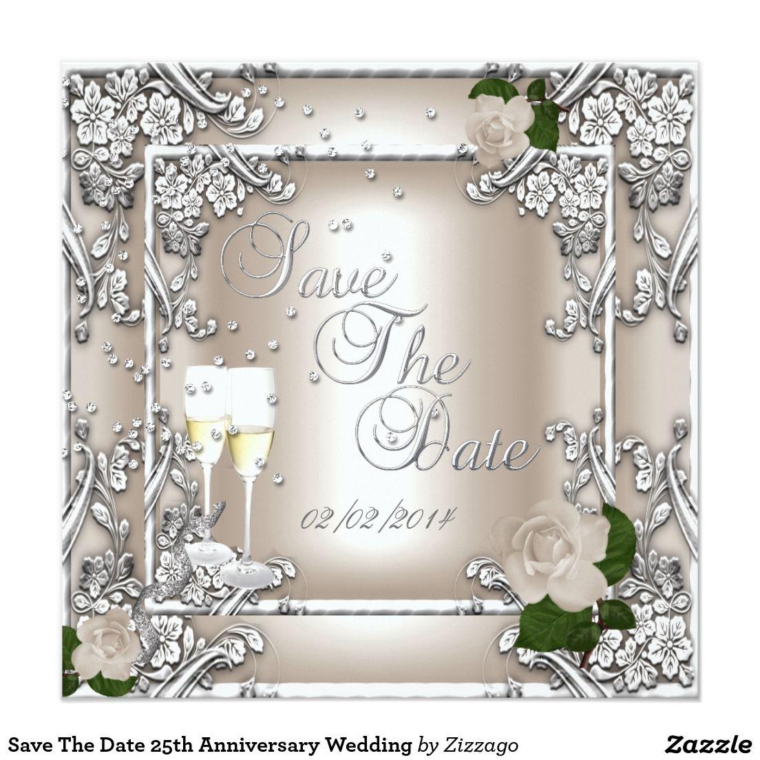 Save The Date 25th Anniversary Wedding Zazzle Com 25th Wedding Anniversary Party 25th Wedding Anniversary Invitations 25th Wedding Anniversary