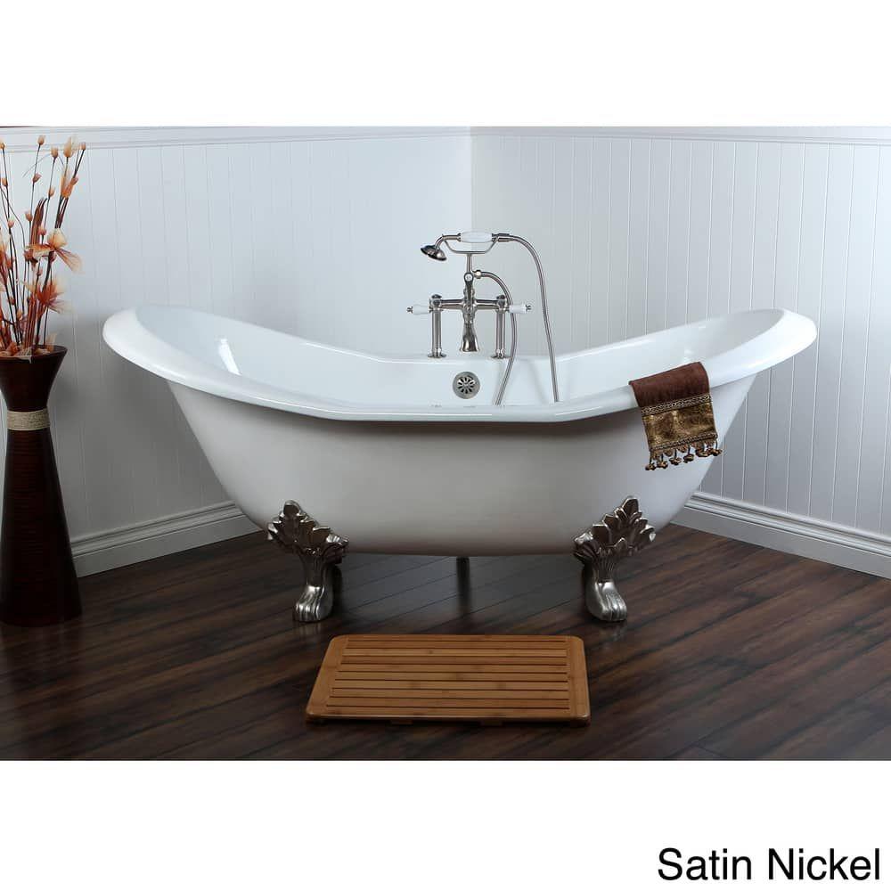 Double Slipper 72 Inch Cast Iron Clawfoot Bathtub Satin Nickel