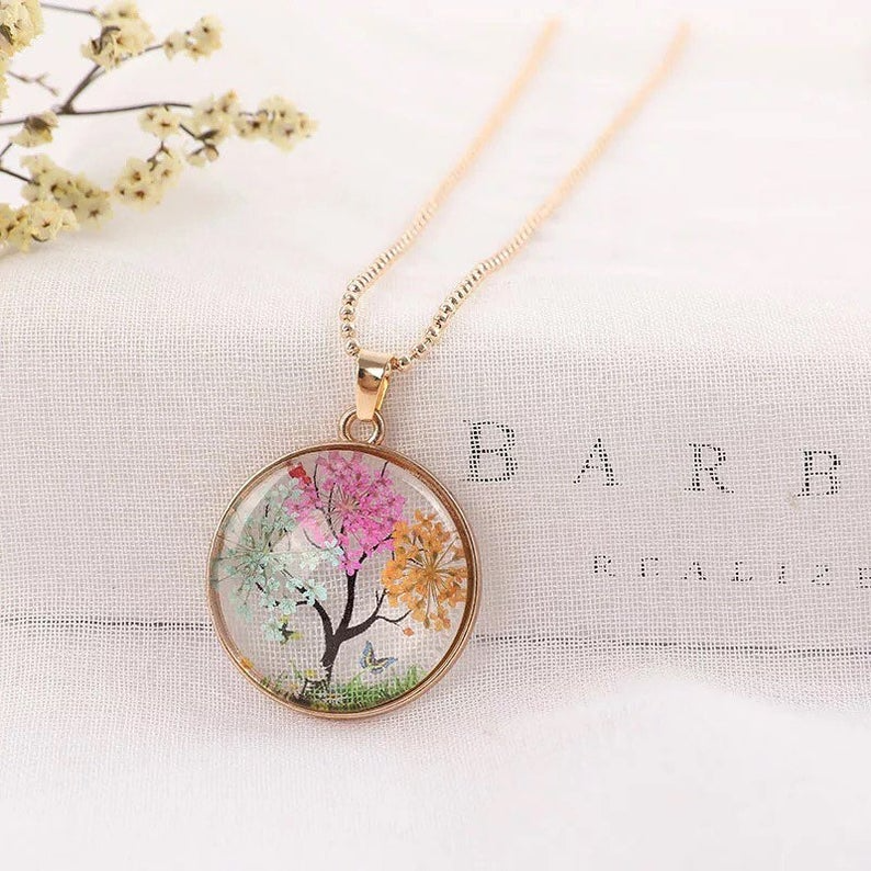 Dandelion necklace Real flower necklace Epoxy resin jewelry Pressed flowers Floral jewelry Crystal ball necklace Real dandelion Gift for her